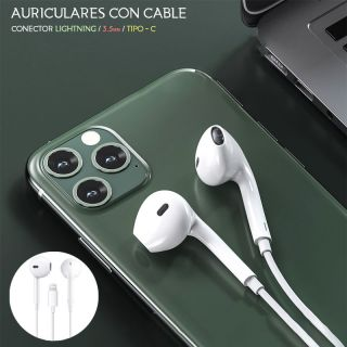 Auriculares con Cable y Microfono para movil tipo Lightnning Color Blanco