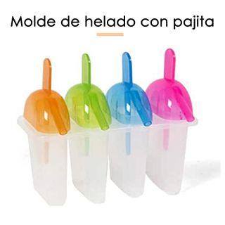 Moldes Helados de Paleta Silicona con Pajilla 4 Piezas Libre de BPA