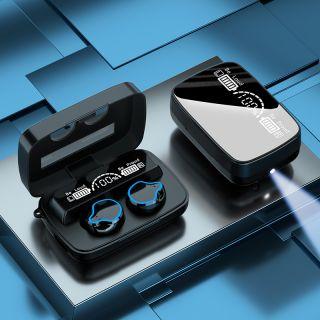 Auriculares TWS M9 Bluetooth 5.1 Inalámbricos Con Efecto Espejo Linterna Stereo HiFi Con Caja Cargador hasta 120 Horas Pantalla LED y Microfono Incorporado IPX7 Resistente al agua