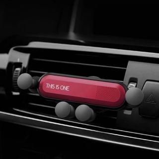 Soporte Magnetico Movil para Coche Sujeición por Gravedad Instalación Fácil Compacto y Universal Color Rojo