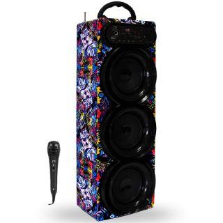 Altavoz Torre Karaoke Bluetooth con Micrófono Sonido HiFi Inalámbrico Radio FM/MP3