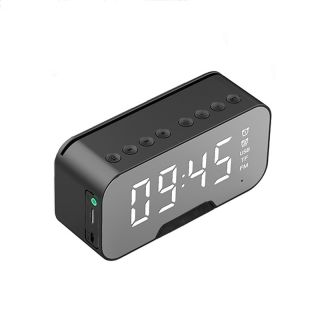 Despertador Digital Reloj con Pantalla LED Alarma Espejo Inteligente con Temperatura Radio FM Altavoz Bluetooth