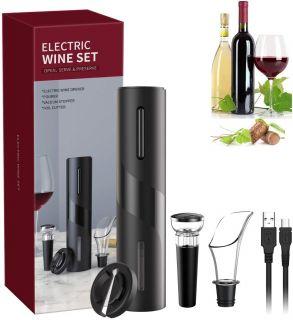 Sacacorchos Electrico Juego 5 en 1 de Abrebotellas Eléctrico , Cortacápsulas, Vertedor, Tapón de Vino y Cable de USB