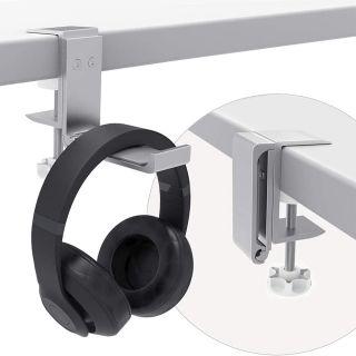 Soporte para Auriculares Cascos Debajo del Escritorio Plegable Ajustable de Aluminio y Silicona Universal Plata