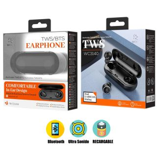 Auriculares TWS Bluetooth Inalambrico BTS en Negro In-Ear con Caja de Carga para iPhone y Android