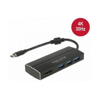 Adaptador USB C a HDMI DELOCK 63931 4K Negro