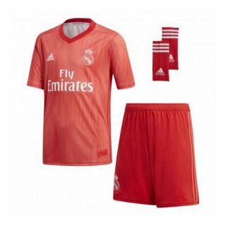 Set Equipación de Fútbol para Niños Adidas Real Madrid Rojo 18/19 (3ª) (3 Pcs) Talla 14-16 Años