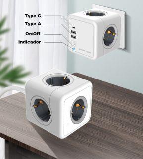 Cube Enchufe USB Pared 7 en 1 Enchufe Multiple con 4 Tomas de CA(3680W), 2 Puertos de USB y Type C (5V, 3.1A), sin Cable Blanco