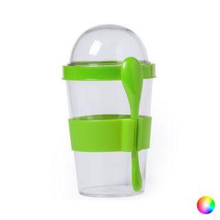 Vaso con Tapa y Cuchara (420 ml) 145572 Color Verde