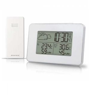 Estación Meteorológica Termómetro Higrometro Digital Interior y Exterior con Sensor Inalámbrico Monitor de Temperatura y Humedad Pronóstico Tiempo Hora Local
