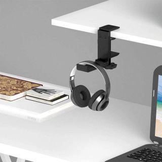 Soporte para Auriculares Cascos Debajo del Escritorio Plegable Ajustable de Aluminio y Silicona Universal Negro