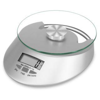Báscula de Cocina 5kg / 1g  Con Visualización De La Hora Balanza Electrónica Superficie de Vidrio Templado