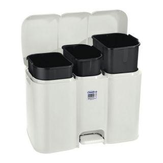 Cubo para la Basura con Pedal Parry Tontarelli 3 Compartimentos Blanco 40 L (58,5 x 32 x 41,5 cm)