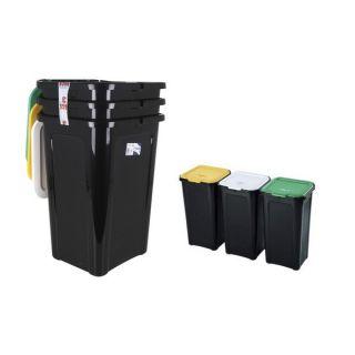 Cubo de Basura para Reciclaje Tontarelli 44 L Negro (38,5 x 34,5 x 54,5 cm) (3 Uds)