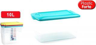 Caja Multiusos Plastico 10 L Grande con Tapa  375X210X185 MM