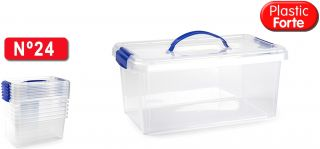 Plastic Forte Caja de Almacenamiento Transparente 10 Litros con Asa
