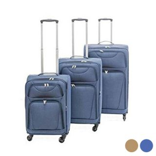 Maleta de Cabina Set s Tela 3 Piezas Color Azul Marino