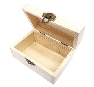 Caja de Madera de Pino Pequeña Caja para Accesorios