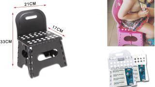 Taburete Infantil con Espalda17x21x33cm Taburete Plegable para niños Color Surtido Negro/Gris