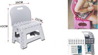 Taburete PVC PlegableTaburete Infantil con Espalda 22x29x43cm Taburete Plegable para niños Color Surtido Negro/Gris