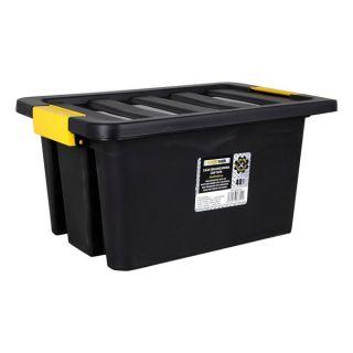 Caja de Almacenaje con Tapa Brico 40 L Negro