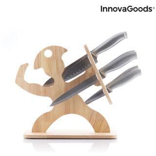 Set de Cuchillos con Soporte de Madera Spartan InnovaGoods 7 Piezas