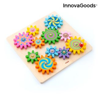 Juego de Engranajes de Madera Engenius  Juguete Educativo Infantil InnovaGoods 12 Piezas