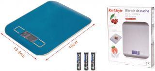 Báscula Digital para Cocina 5Kg/11 Lbs Bascula Comida de Precisión Balanza de Alimento Multifuncional Peso de Cocina con Lcd Retroiluminación Plata Baterías Incluidas (18 X 13.5 Cm Azul)