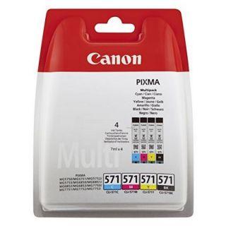 Pack de Tinta y Papel Fotográfico Canon CLI-571 MG5750 Cyan Magena Negro Amarillo