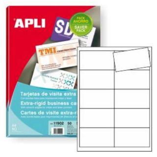 Pack Ahorro 500 Tarjetas de Visita Apli 11902 - 89*51Mm - Cantos Rectos - 250G - Color Blanco