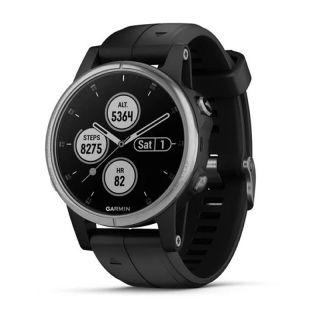 Reloj Deportivo Con Gps Garmin Fénix 5S Plus Plata Con Correa Negra - Carcasa 42Mm - Multisport - Frecuencia Cardiaca - Notificaciones - 10Atm