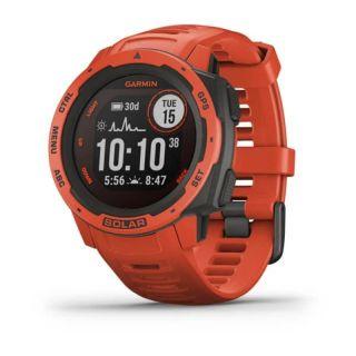Reloj Deportivo Garmin Instinct Solar Rojo - Pantalla 23*23Mm - Carga Solar - Frecuencia Cardiaca - Pulsioximetro - Notificaciones - Caja Reforzada