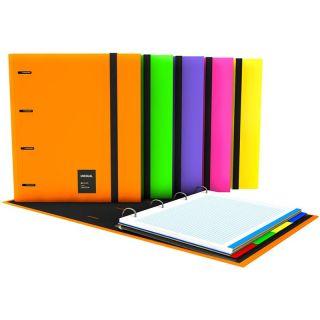 Carpeta Grafoplas 88106025 Carpebook A4 Forrado Unequal Fluor Verde - Anillas 35mm - Incluye Recambio 100 Hojas - 4 Separadores