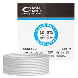 Bobina de Cable Nanocable 10.20.0704 - Rj45 - Cat5E - Ftp - Awg24 - 305M - Gris