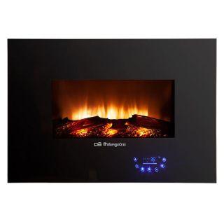 Chimenea Eléctrica Orbegozo cm 8000 - 1800W - Temperatura 7/35º - Frontal Cristal Templado - Efecto Fuego Real - Mando a Distancia