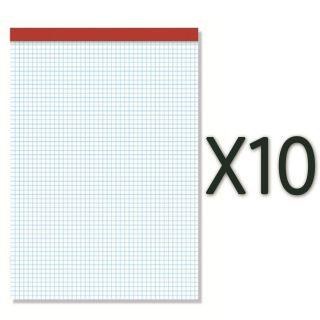 Paquete de 10 Unidades de Bloc de Notas con Lomera - sin Tapa - 80 Hojas - Papel Offset Blanco de 60 Gramos - Cuadriculado -  Sam Pacsa