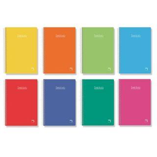 Paquete 5 Libretas Espiral Sam Pacsa 16222 - Rayado 2.5cm - 80 Hojas - Tamaño Folio - 60 Gramos - Serie Institut Extra - Colores Surtidos