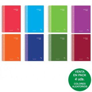 Pack 4 Libretas Sam Pacsa 16481 Serie Premium Extra - Tamaño A4 - 120 Hojas - 90gr - Rayado 5*5 - Tapa Forrada - Espiral - Colores Surtidos