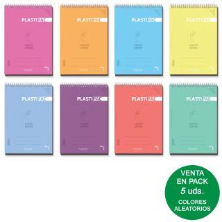 Paquete 5 Blocks Especial Zurdos Sam Pacsa 16561 - Tamaño Folio - 80 Hojas - 90gr/m2 - Rayado 4*4 - Espiral Negro - Colores Surtidos