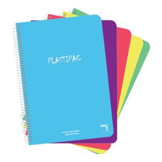 Paquete 5 Libretas Sam Pacsa Folio con Tapa de Polipropileno Translucido Serie Plastipac - 80 Hojas - Cuadricula 4x4 - Papel 90gr - Colores Surtidos
