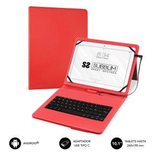 Funda con Teclado Subblim Keytab Pro Usb para Tablets de 10.1'/ Roja