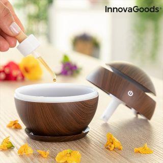 InnovaGoods Mini Humidificador Difusor de Aromas Dark Walnut Conexión USB Secuencia LED multicolor