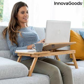 Mesa Versátil  Plegable Auxiliar de Bambú en Sofa y Cama InnovaGoods