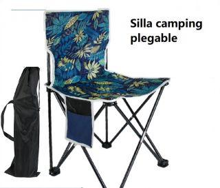 Silla de Camping Plegable Portatil con Respaldo con Bolsillo para Guardar Objetos para Pescar / Camping / Barbacoa / Viajar