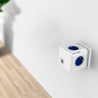 Regleta Enchufes Cubo Power Cube Allocacoc USB Blanco