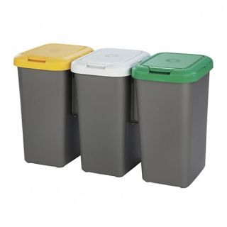 Cubo de Basura para Reciclaje Tontarelli Plástico Gris (77 X 32 x 47,5 cm)