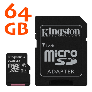 Kingston microSDHC 64GB Canvas Select 80R CL10 UHS-I Card + SD Adaptador
