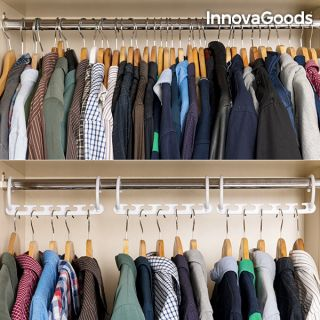 InnovaGoods Organizador de Perchas para 40 Prendas Fabricado de ABS Incluye 24 piezas